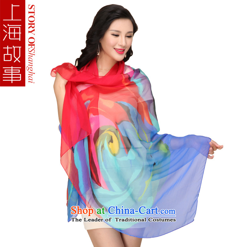 Shanghai Story silk scarf upscale silk scarfs wild herbs extract spring and autumn, silk scarves long shawl colorfully blue