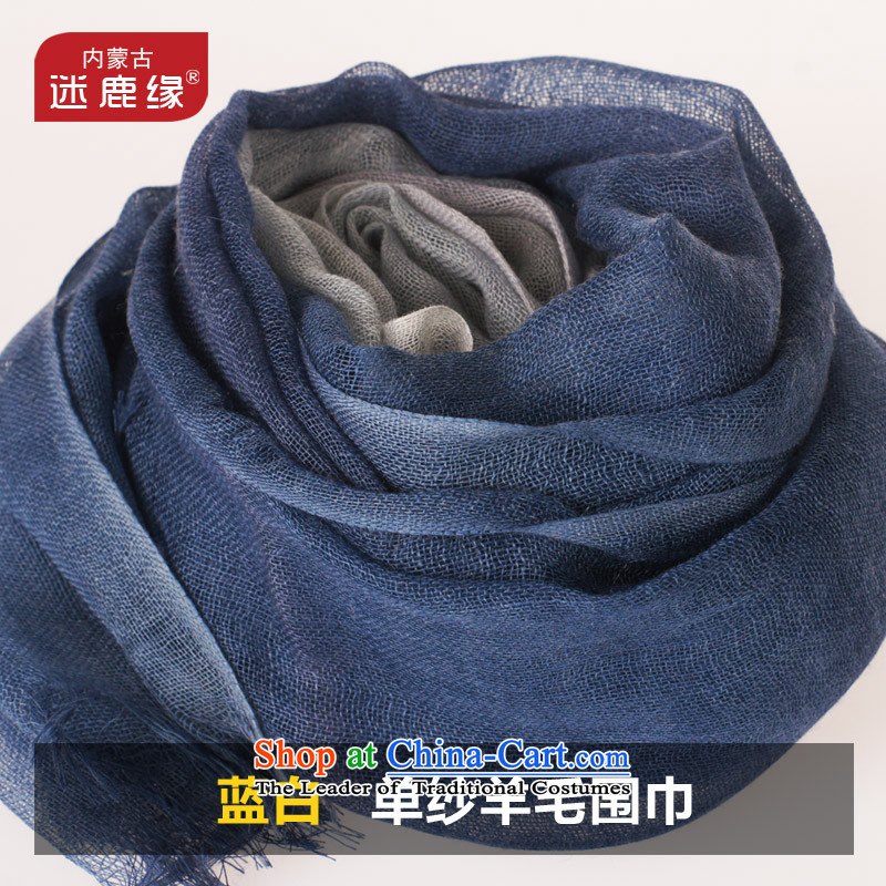 Mini-Germany edge autumn and winter new products 100% wool stamp scarf female stylish blue and white