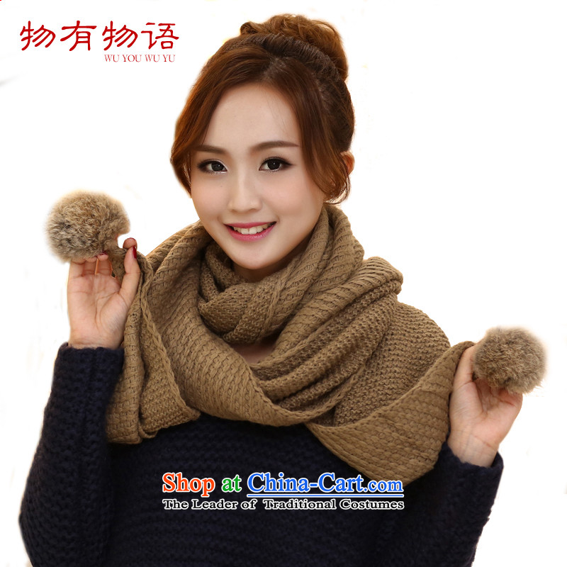 With the Chinese president scarf winter Korean New Fall Winter hat warm scarf lovely rabbit hair ball solid color knitting sweater knit a khaki