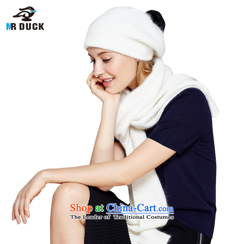 Autumn and Winter Female hat mrduck scarf 2 kit stylish lovely rabbit hair cap a thick Warm White MW15913- students