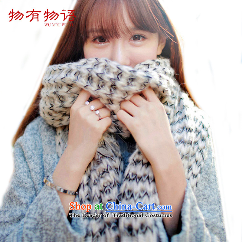 With the end of the scarf Monogatari female Korean winter long thick new hats scarves couples mohair knitting, knitting with a two shawls beige
