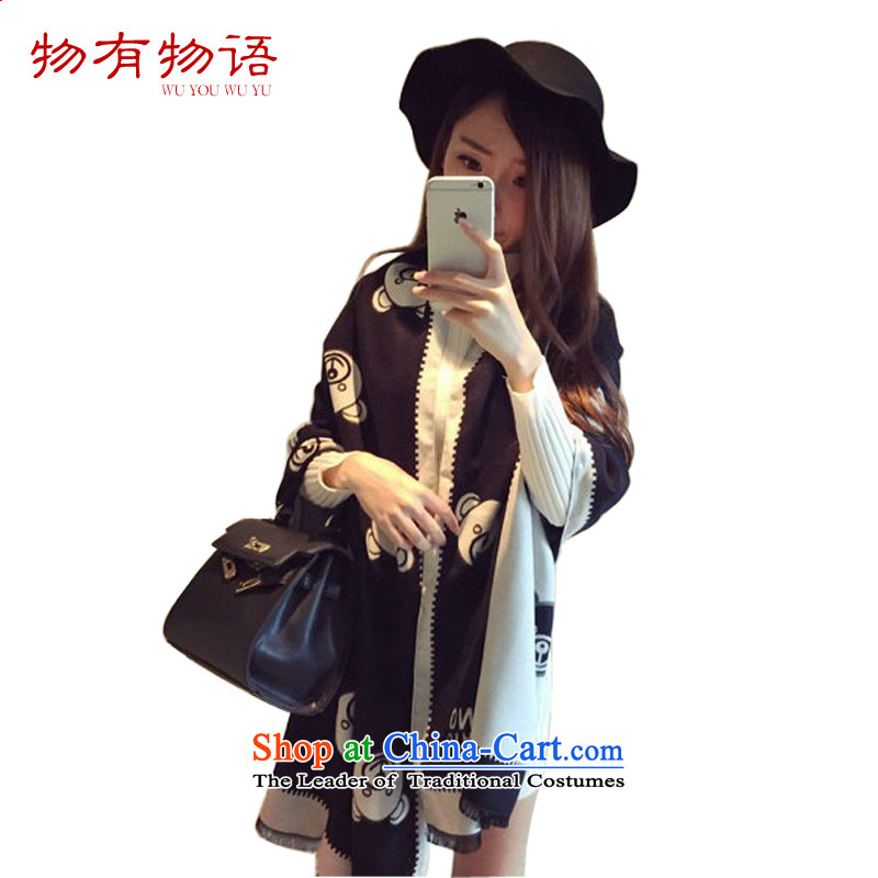 With the ChineseNew Year 2015 autumn and winter shawl scarf cartoon cubs pattern simulation Cashmere scarf duplex bi-color cotton waffle intensify Fancy Scarf Cubs - Black and White (180-200) 180-200
