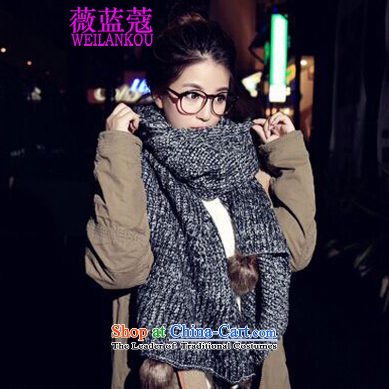 Ms Audrey EU Blue 2015 Winter Coe new Korean long thick spelling of knitted cardigans winter a color ball Knitting scarves angled Gray