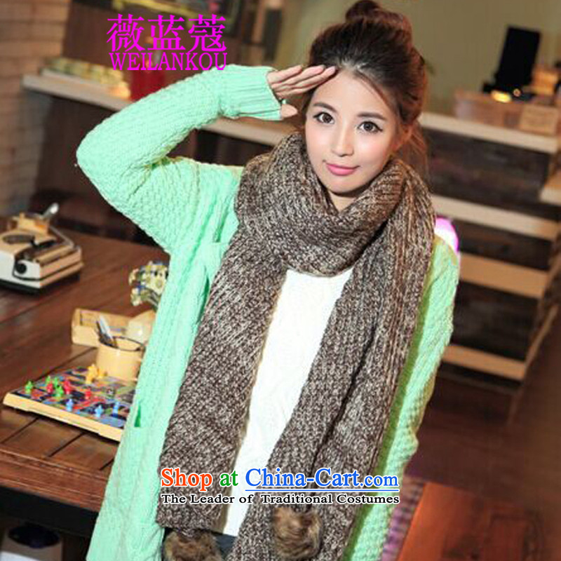Ms Audrey EU Blue 2015 Winter Coe new Korean long thick spelling of knitted cardigans winter a color ball Knitting scarves gray, Ms Audrey EU angled blue (WEILANKOU COE) , , , shopping on the Internet