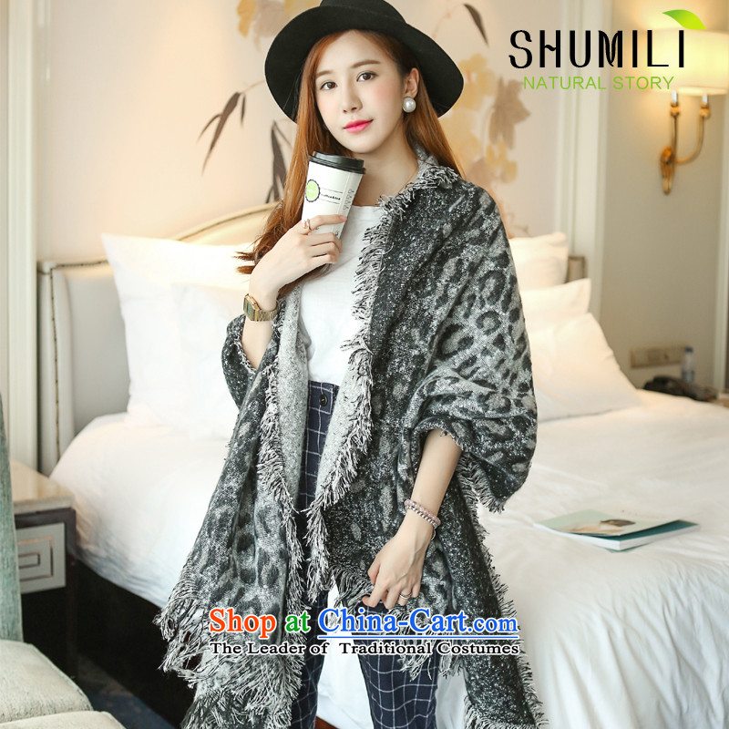 Mrs Carrie Yau, Ms. Mimi scarves knitted woolen scarves winter twist knitting shawl gray leopard