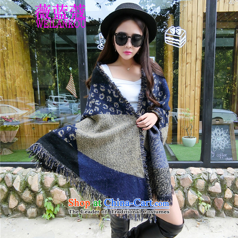 Ms Audrey EU blue autumn and winter 2015 Coe new cloak shawl warm Thick edging scarf two with blue