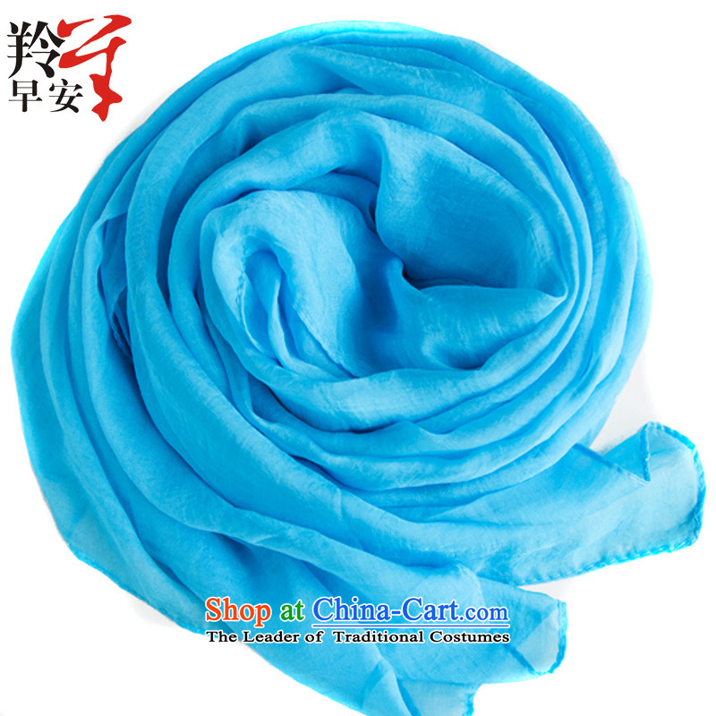 The Gazelle Good Morning Gentle large masks in the Korean version of the solid color Ms. elegant wild beauty silk scarf reminiscence - light blue