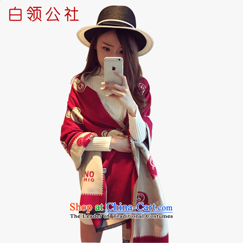 White-collar corporation scarf female winter2015 autumn and winter shawl scarf dual-use cartoon cubs cotton scarf a double-sided female Ms. Winter Fancy Scarf Cubs - Red (180-200) 180-200