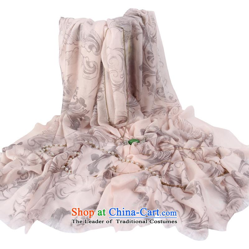 Shanghai Story autumn and winter Women Korean Sleek and versatile printing long pashmina shawl plain, fairy smoke Powder