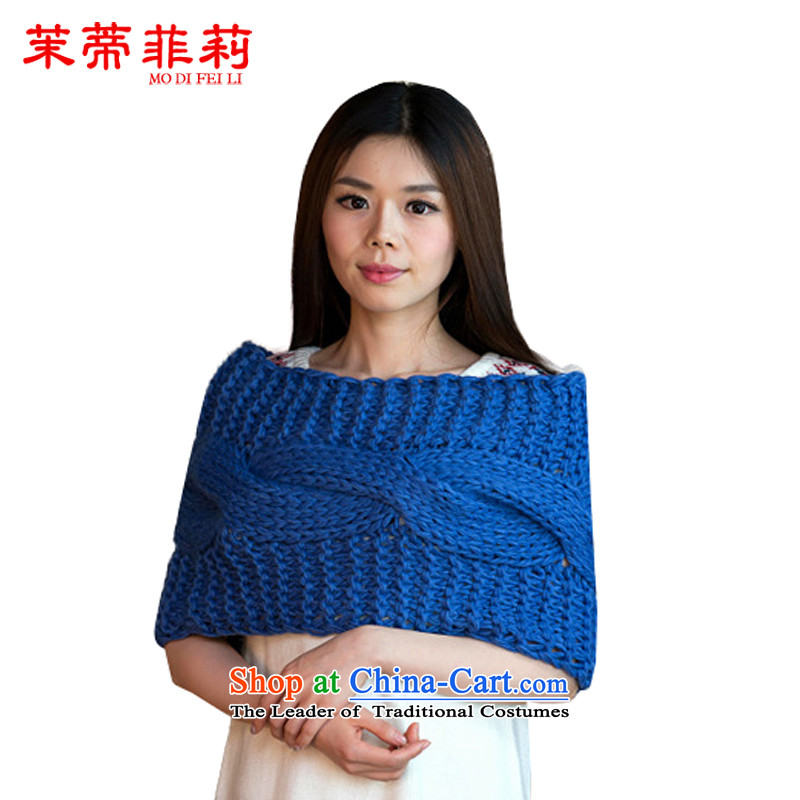 Energy Tifi Li Wai Shing female autumn and winter new Korean female knitting sweater knit thick line a shawl Ms. two with blue