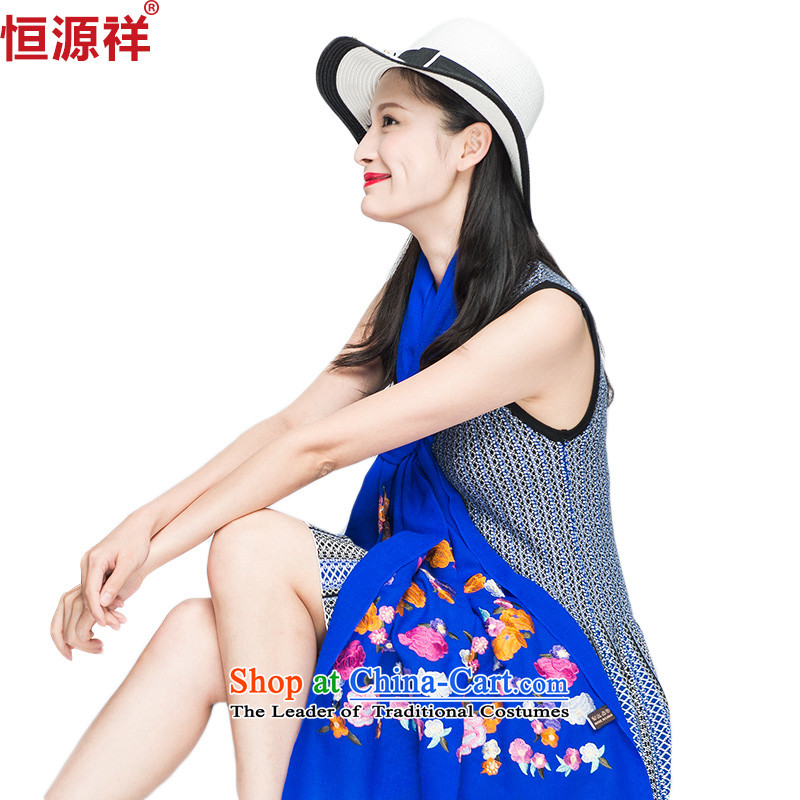 Ms. Cheung Hengyuan wooler scarf of autumn and winter embroidery shawl long thick blue with two shawls