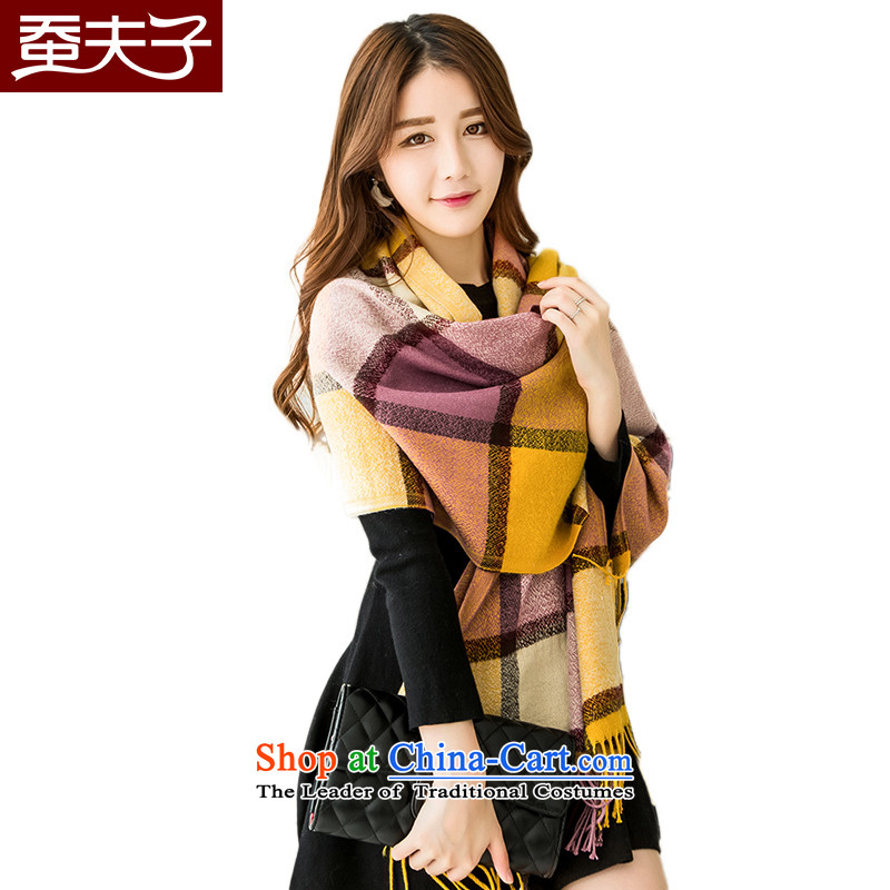 Also teacher warm latticed scarves, autumn and winter shawl a new grid Yellow