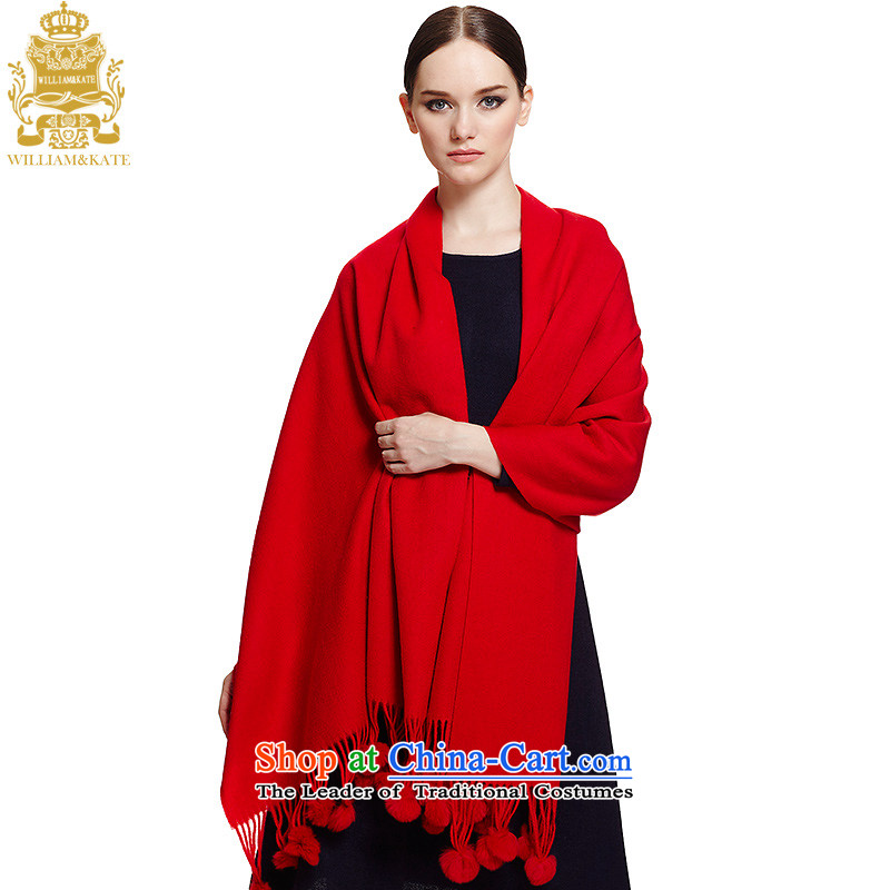 Williams & Ms. Kate WILLIAM&KATE wooler scarf wool warm long ball gross towel WJ35005 Red Shawl
