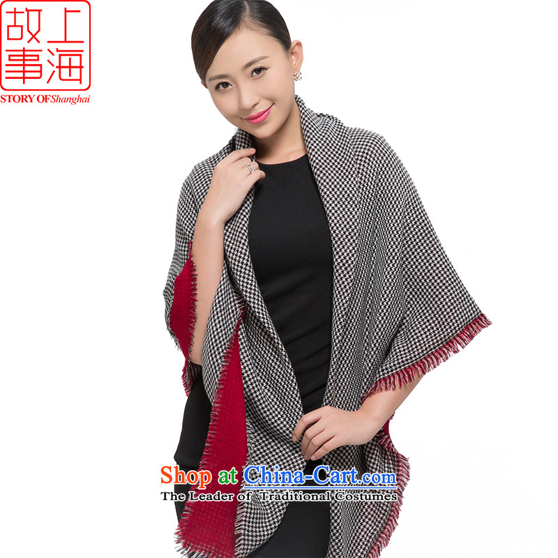 Shanghai Story聽2015 new wooler scarf women winter Grand Prix of dual-use shawl warm a double-sided chidori 178071, Red