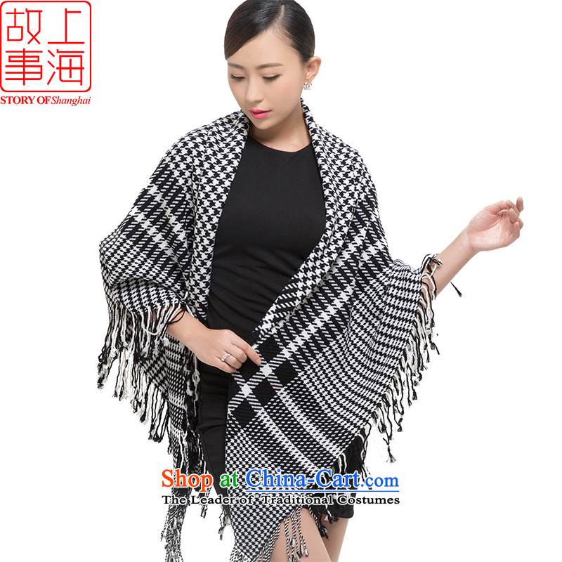 Shanghai Story2015 new wooler scarf Women warm winter a quadrilateral gross to be large chidori of shawl 178070 Black and White