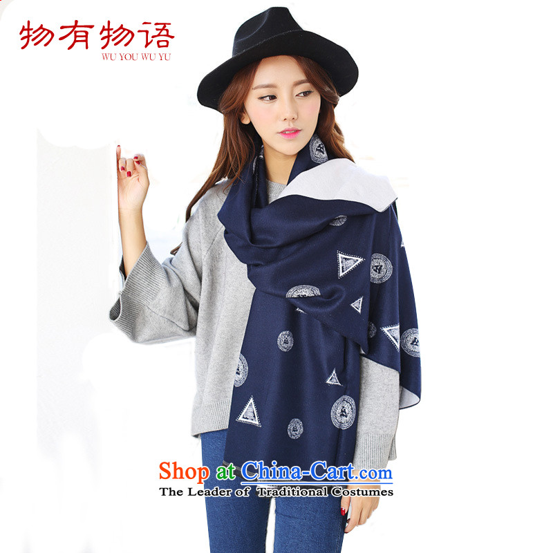 With the end of the scarf women Monogatari Western autumn and winter new cashmere triangles to the lions head scarves retro warm with Fancy Scarf navy blue spell White