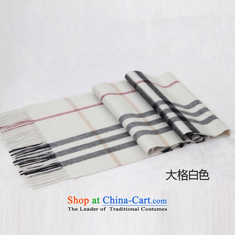 聽Cashmere scarf men and women BURDULLY latticed universal fine pashmina of large wire White