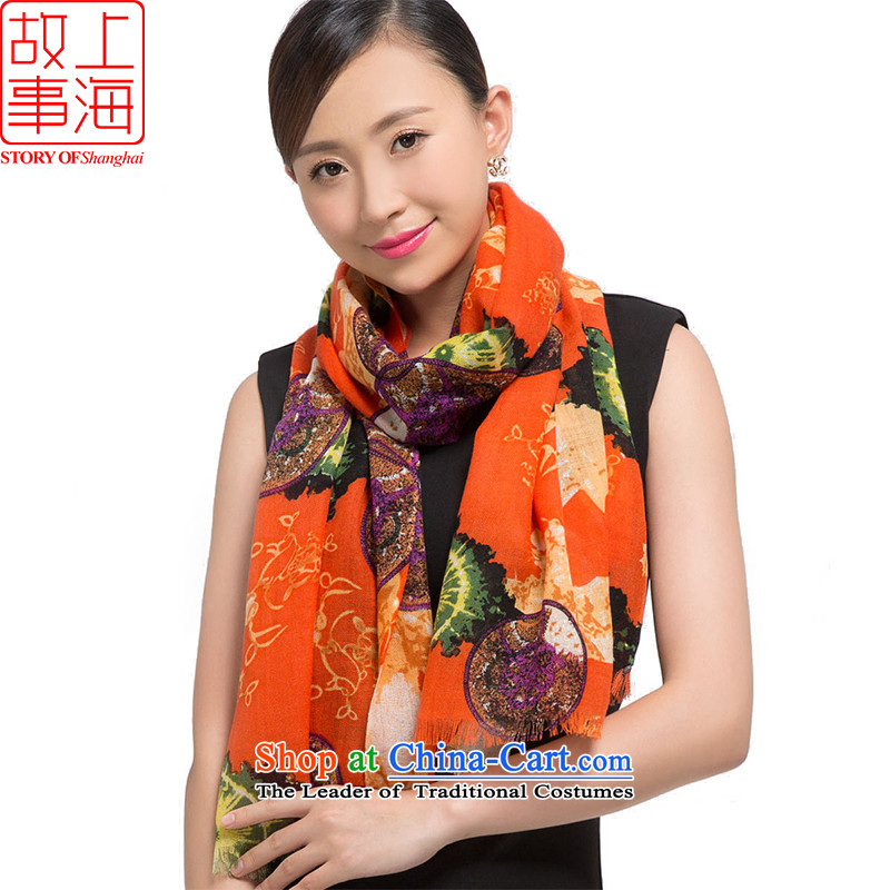 Shanghai Story聽2015 new stamp Ms. scarves wool warm winter long shawl classical style 178014 Orange