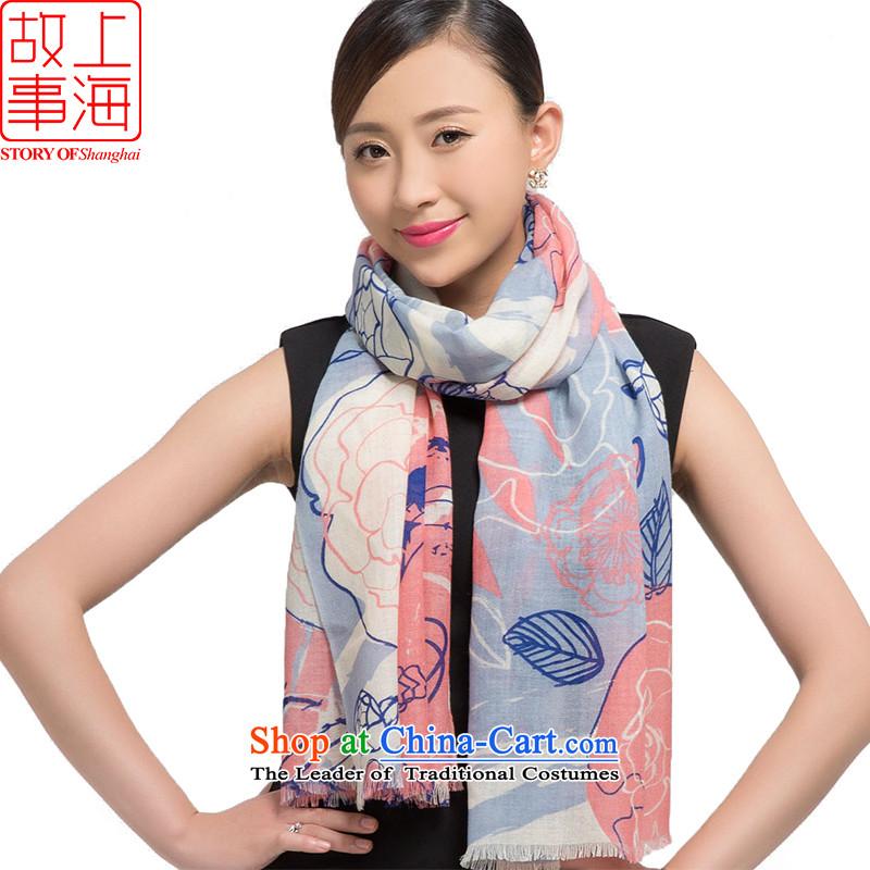 Shanghai Story2015 new stamp Ms. scarves wool warm winter long shawl early winter 178016 taste blue