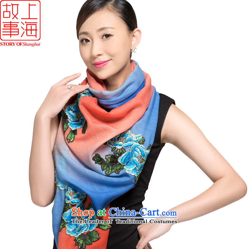 Shanghai Story 2015 New 80 wool embroidered shawl Women warm winter scarf sunset impression 178022 Blue, Orange