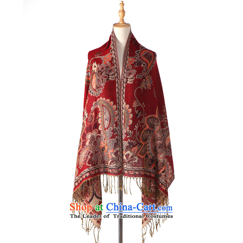 Silver Sponsors _yinlan_ autumn and winter wind national cotton linen Jacquard Scarf two with air conditioning in summer sea border success shawl long silk scarf female wine red