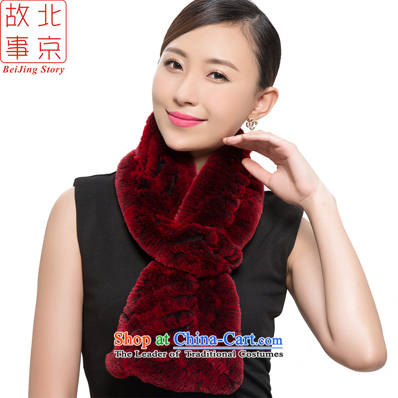 Beijing 2015 new process story rabbit hair scarf women a warm winter Alice 178063 elegant red