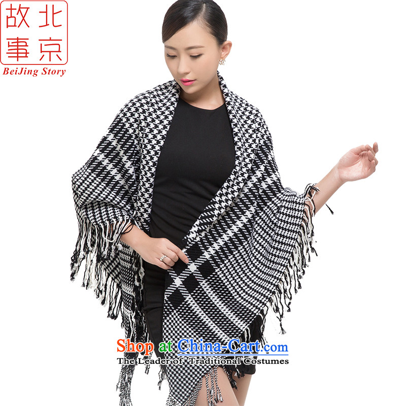 Beijing2015 new story wooler scarf Women warm winter a quadrilateral gross to be large chidori of shawl 178070 Black and White