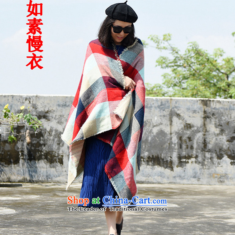 If so slow yi 2015 autumn and winter new wide format large shawl warm blue and red, 5337 scarf