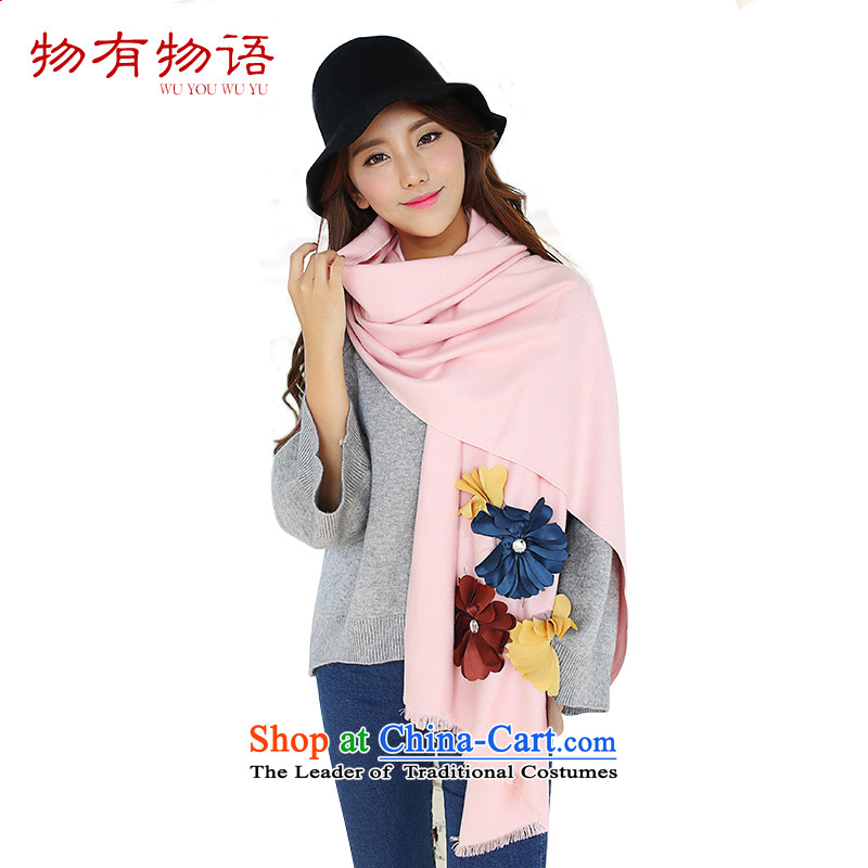 With the end of the scarf women Monogatari Western autumn and winter of Considerate New Hua cashmere pure color arts fresh Korean Knitting scarves knitted cardigans two with pink