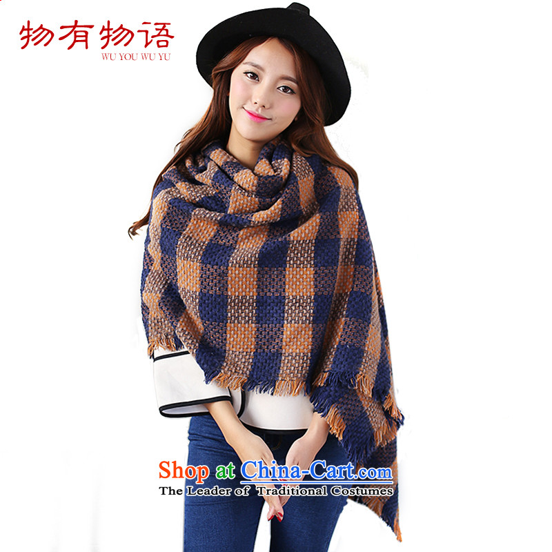 With the end of the scarf Monogatari girl of autumn and winter Korean students English female thick latticed thick wool cashmere sweater knitted warm rough edges of the scarf long orange blue