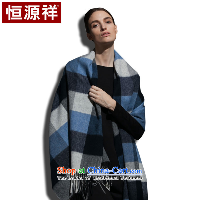Hengyuan Cheung woolen shawl, stylish Western Wind leisure latticed wild blue square) (dark)