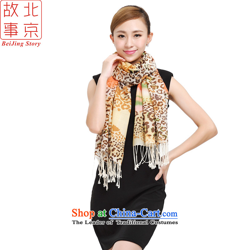 Beijing story wooler scarf female autumn and winter long leopard a color plane collision 14011- color bar Leopard - Orange