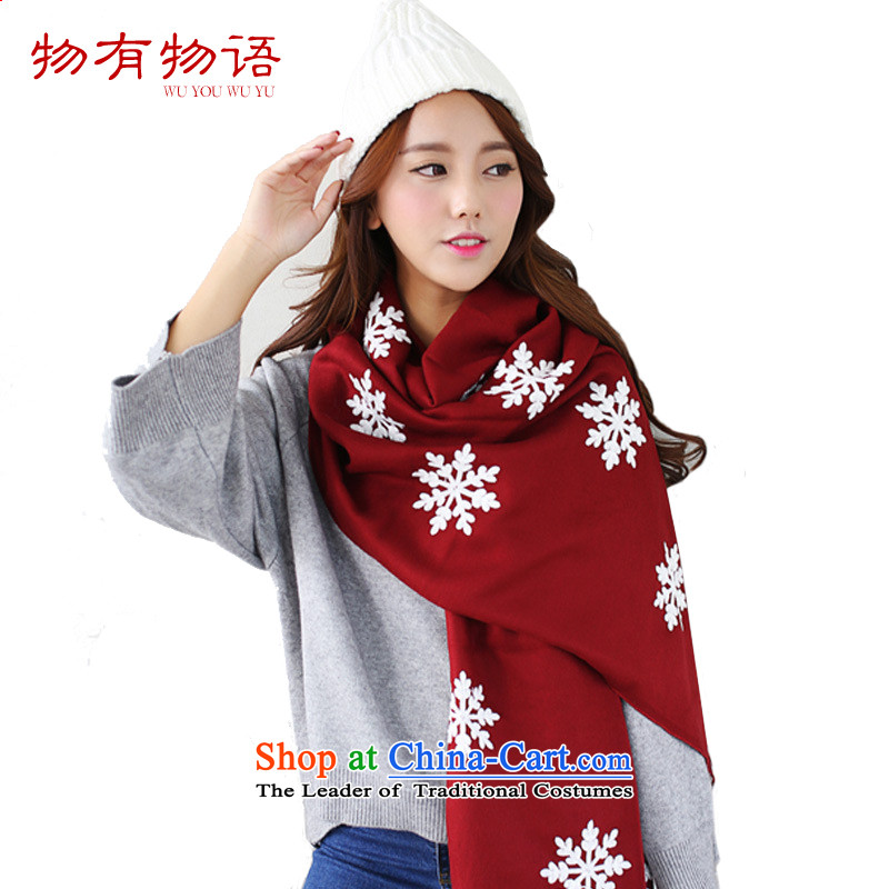 With the end of the scarf Monogatari female Korean version of the new winter retro arts young women snowflake pure color long cashmere knitting sweater wild fancy scarf4313Bourdeaux