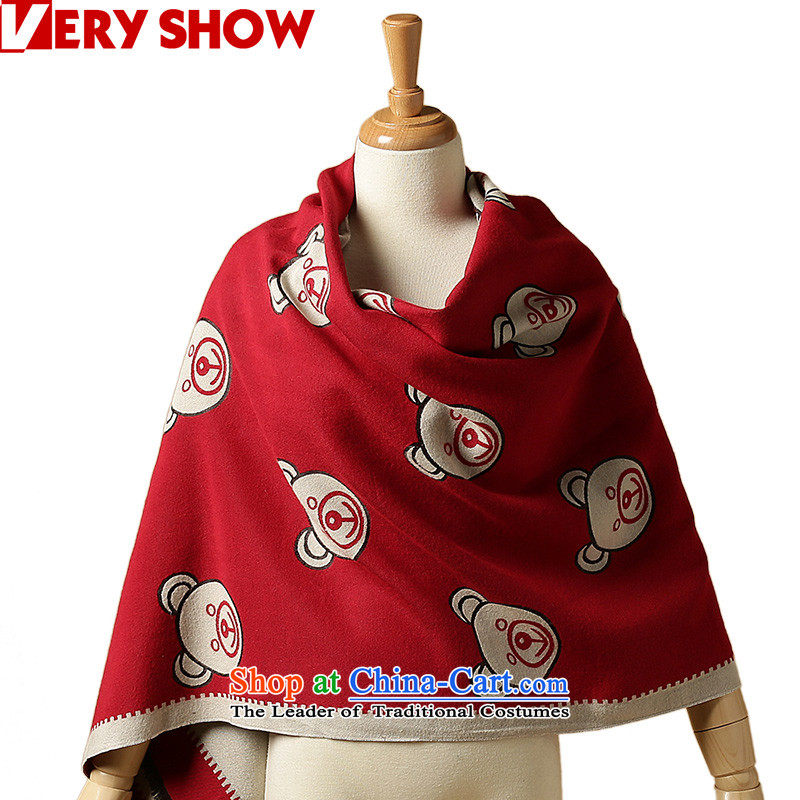 The Korean version of the autumn and winter VERYSHOW Cubs head scarf female thickened pattern long winter double-sided with student shawlWJ0224red apricot dual sallow face