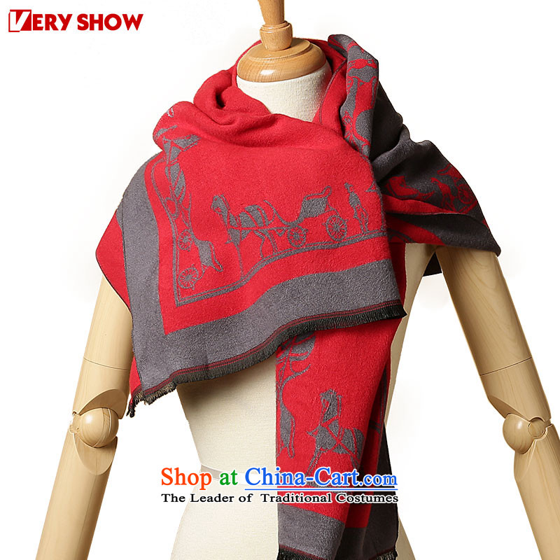 Europe and the carriage of autumn and winter VERYSHOW scarf stars of Ms. Fancy Scarf thickWJ0221 warmred