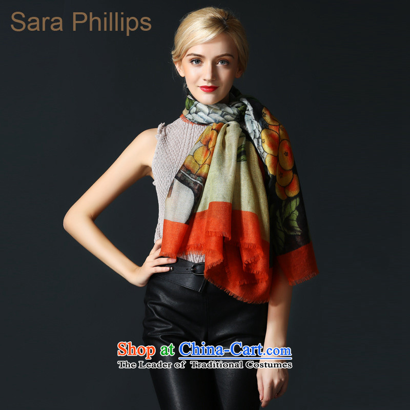 Sara phillips200 support pure Worsted cashmere scarf 88606-2028 paintings series stamp yellow are code