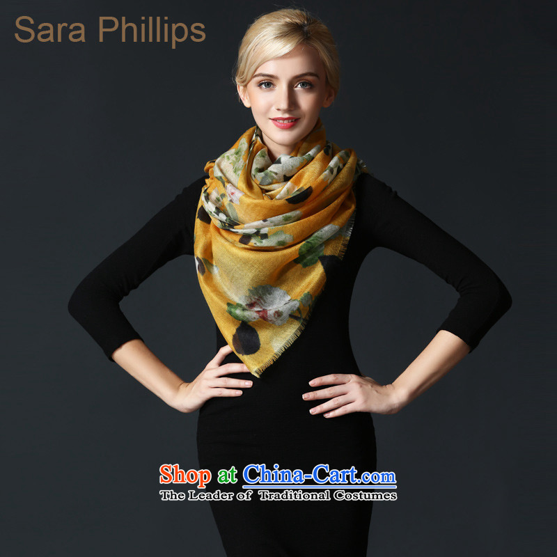 Sara phillips200 support pure Worsted cashmere scarf 88640-2028 stamp yellow are code