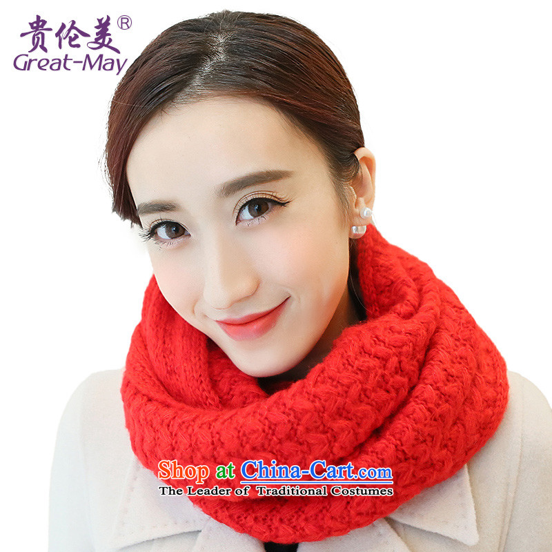 The US military also female Winter Sweater of Korean ripple Knitting scarves Fall Winter Korea thick warm kit Tau Wai Shing WB0026 male enthusiasm red