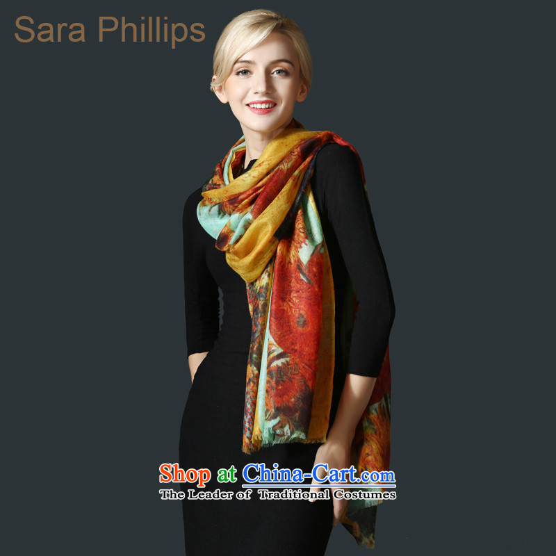 Sara phillips200 support pure cashmere worsted _sunflower_ Stamp scarf 88642-2028 yellow are code