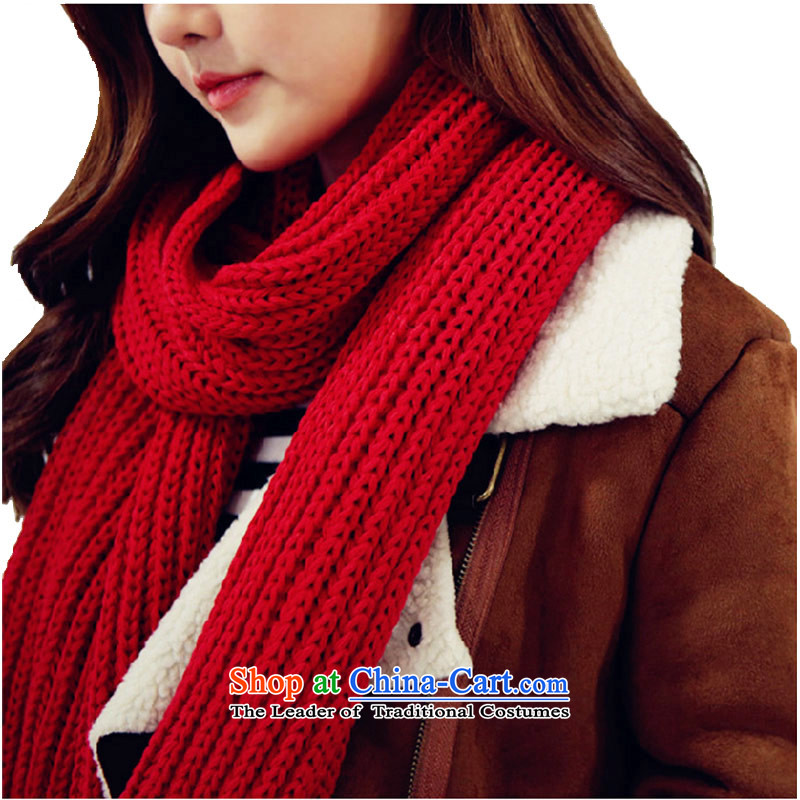 Knitting scarves knitted female Korean a winter wild shawl dual-use thick red 195_35