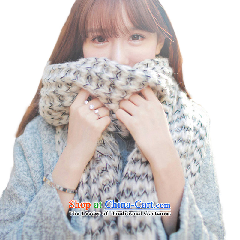 Mohair scarf female long thick Korean winter new couples a knitting, knitting with two shawls Mohair Scarf - Beige