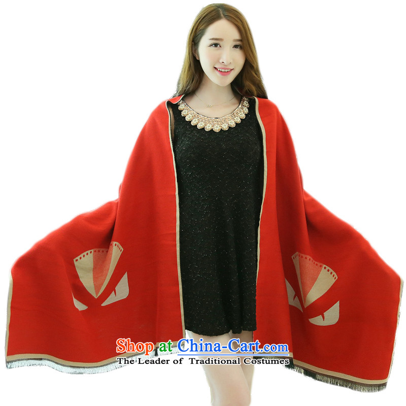 2015 Autumn and winter new small monsters emulation pashmina shawl large warm wine red