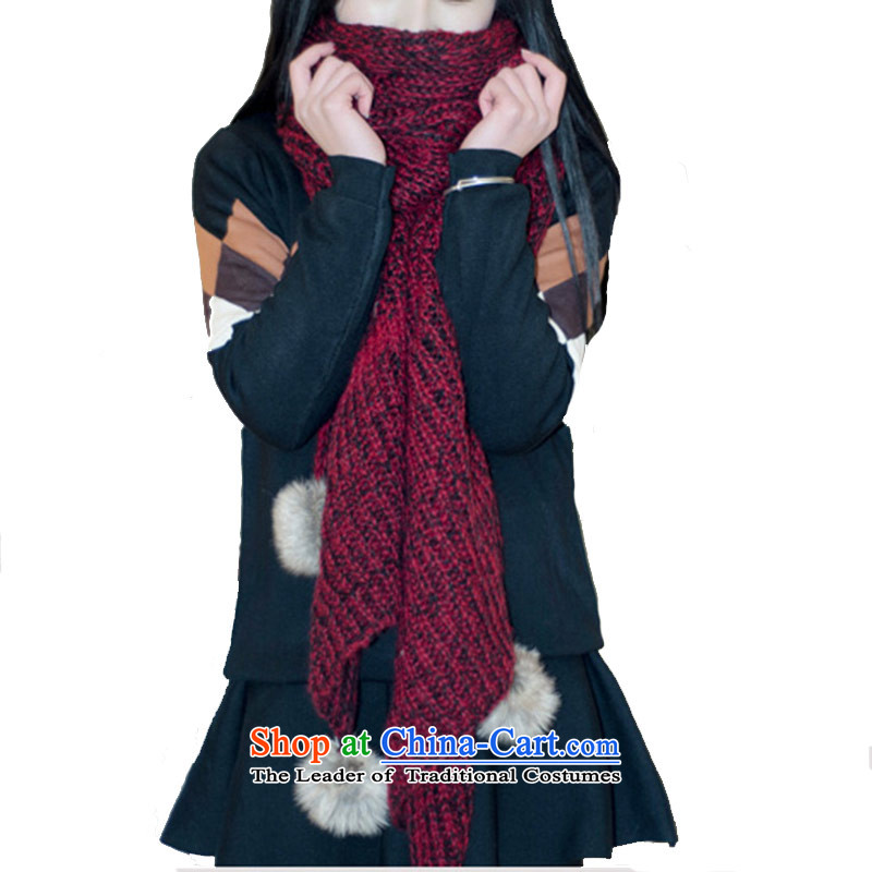 The Korean version of warm scarves knitted female winter long thick ball knitting a red