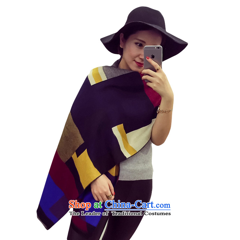 2015 Autumn and winter new grid double-sided pull gross emulation pashmina, two with warm shawl navy blue