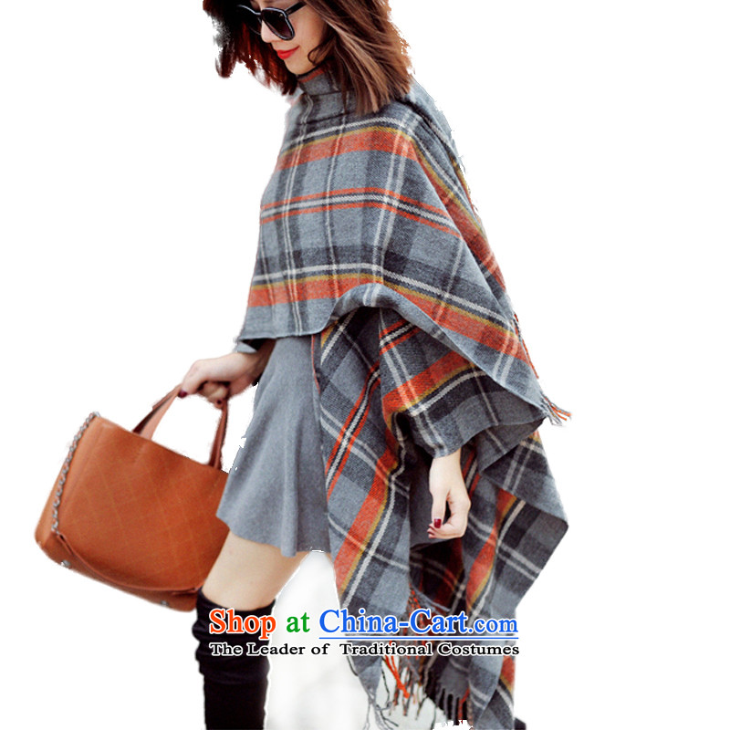 Fancy Scarf cloak of autumn and winter two stylish warm with thick long female Korean version of the new 2015 Grid Gray Orange Scarf large compartments shawl