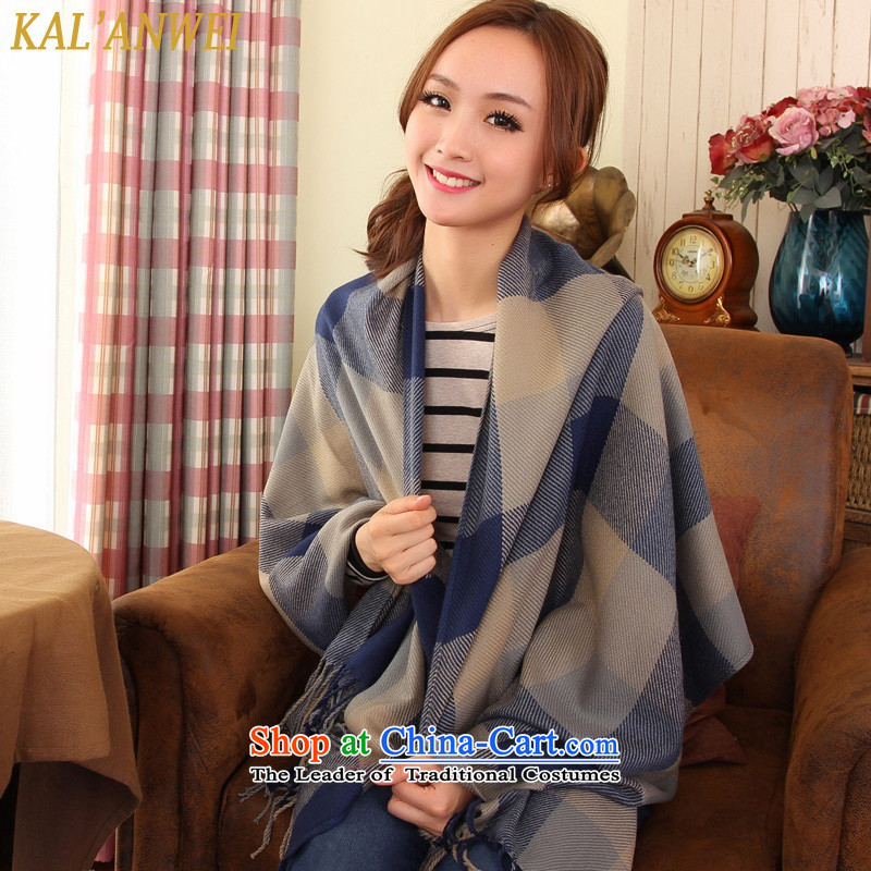 The Korean version of autumn and winter edging shawl two with thick knitting long female Korean wild Knitting scarves blue and gray checkered patterned