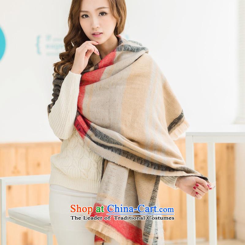 Pashmina female Korean Emulation Fall Winter new thick increase Korean edging shawl two use a khaki twill latticed duplex scarf