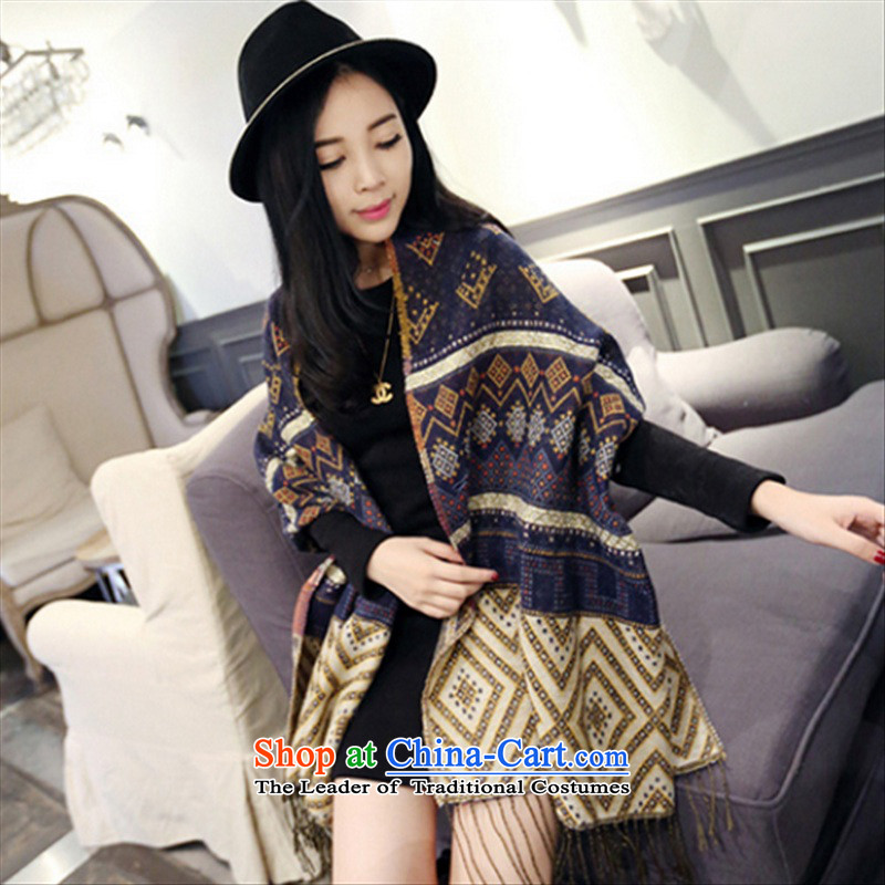 2015 new scarf female Korean autumn and winter ethnic wild long a geometry with two shawls thick Navy