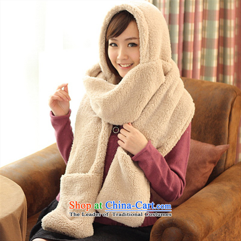 Super Warm resemble double thick hat scarf gloves one Korean autumn and winter women cape light Card - Plain, its scarf