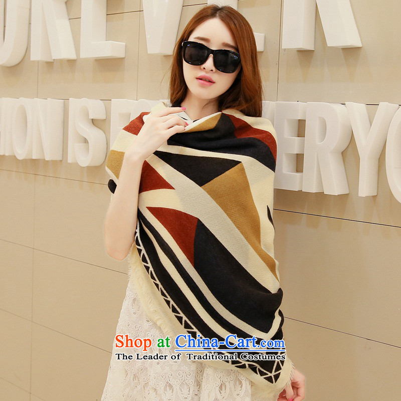 Shawl long autumn winter shawl scarf female winter oversized cloak Fancy Scarf dual-use thick beige